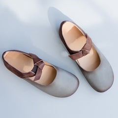 Gray Bow knot Leather Flat Shoes For Women X25031