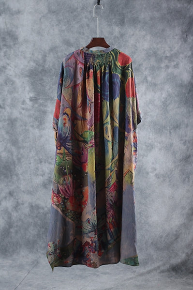 Vintage Loose Green Print Linen Maxi Dresses Women Casual Gown W6591