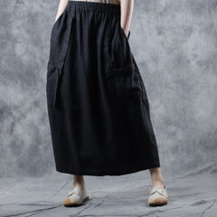 Vintage Pure Color Linen Skirt Women Casual Spring Clothes W1053