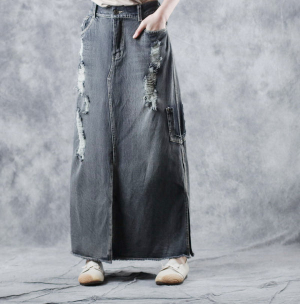 Vintage Casual Cowboy Long Skirt Women Fashion Denim Clothes W1909