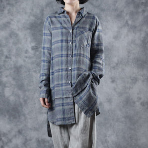Spring Plaid Linen Long Shirt Loose Blouse For Women W2533