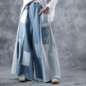 Loose Quilted Cowboy Wide-leg Pants Women Casual Denim Trousers W0919