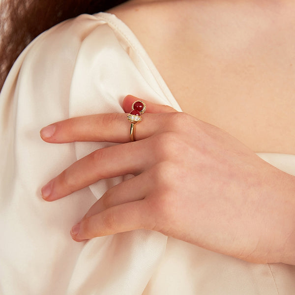 Vintage Garnet Women Finger Ring Baroque Style Accessories Z2886