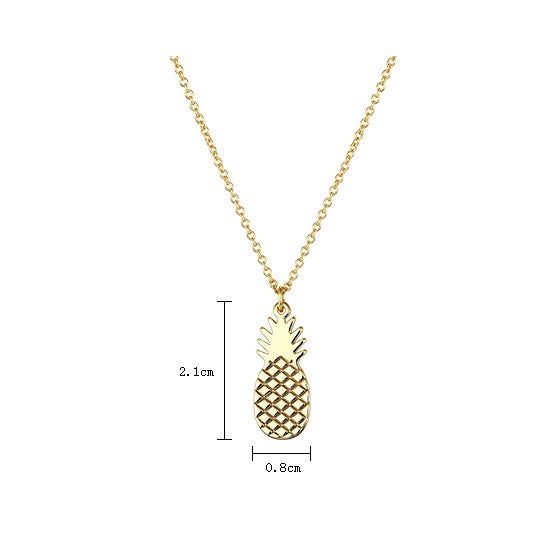 Pineapple Pendant Women Simple Necklace Summer Metal Collarbone Chain Z2912