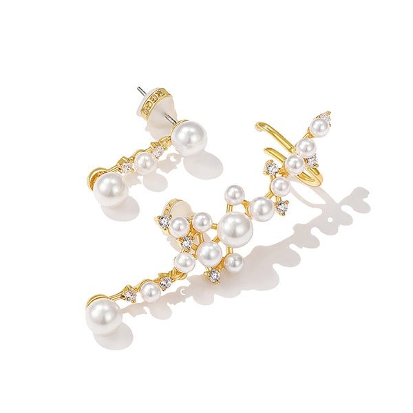 Elegant Women Imitation Pearl Ear Stud Fashion Asymmetric Ear Accessories Z2903