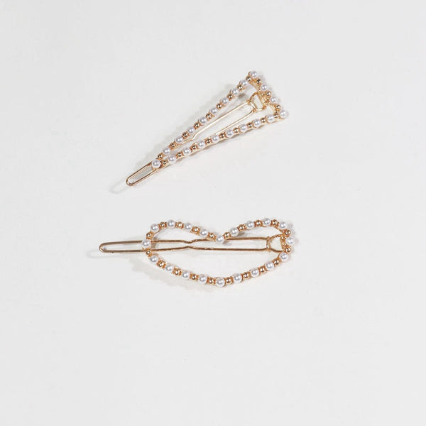 Vintage Imitation Pearl Women Clips Cute Girls Hair Pins C594