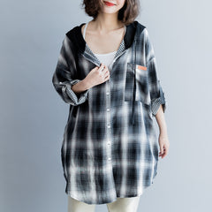 Women Casual Hoodie Plaid Long Shirt Loose Blouse S4082