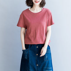 Simple Pure Color Women Casual Shirt Summer Loose Tops S8043