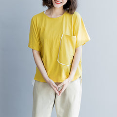 Summer Cute Loose Cotton Shirt Women Casual Pure Color Tops S8044