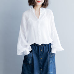 Vintage Puff Sleeve Loose Shirt Women Casual Elegant Blouse S8045