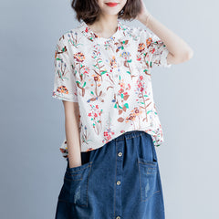 Casual Floral Women Blouse Cotton Loose Shirt For Summer S8046