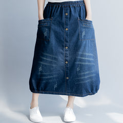Blue Button Down Denim Skirt Casual Women Cowboy Clothes Q8040