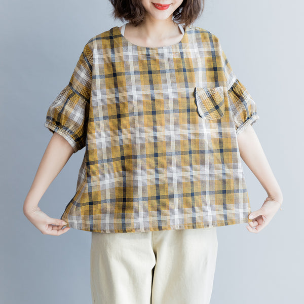 Loose Plaid Women Shirt Cute Summer Girls Blouse S8047