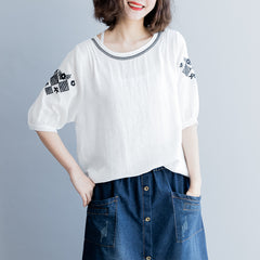 White Embroidery Loose Shirt Summer Cotton Blouse For Women S9042