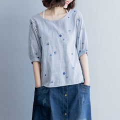 Summer Cute Gray Shirt Loose Embroidery Short Blouse For Women S9043