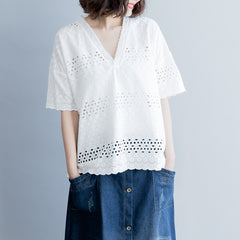 Loose White V Neck Blouse Women Cute Casual Tops For Summer S9044