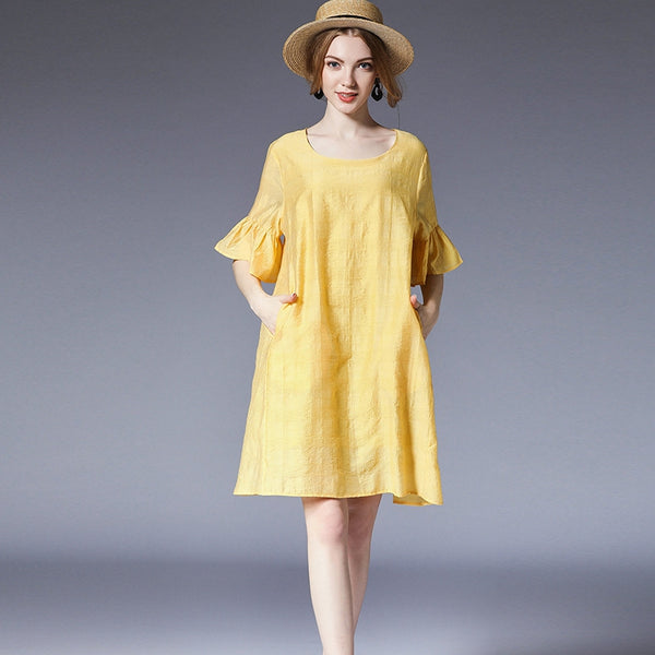 Plus Summer Pure Color Loose Dresses For Women 6930