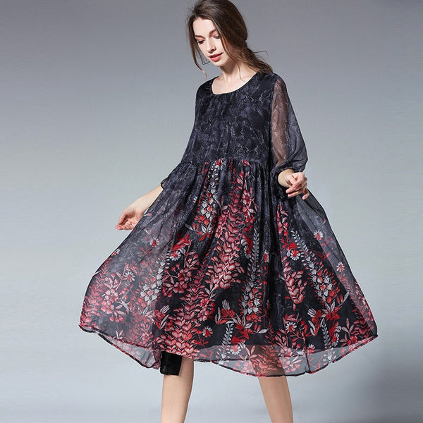 Plus Loose Chiffon Dresses Women Casual Summer Clothes 6885