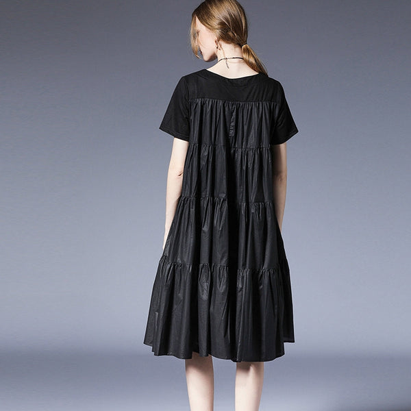 Plus Black And Gray Loose Dresses Women Casual Clothes For Summer 6982