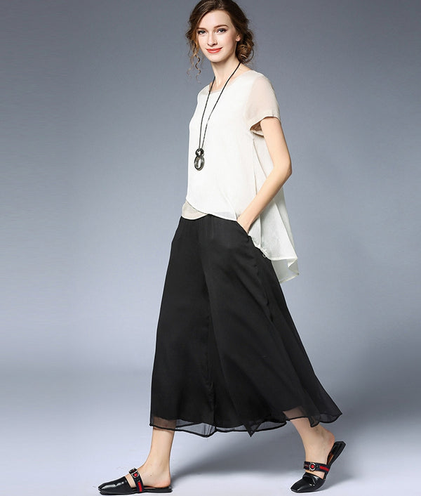Plus Summer Black And White Wide-leg Pants Women Chiffon Loose Trousers K6391