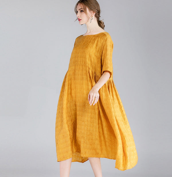 Plus Pure Color Loose Dresses Women Casual Summer Clothes 7163