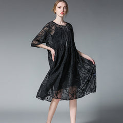 Plus Embroidery Loose Dresses With Lining For Summer 6378