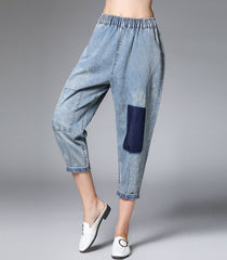Plus Blue Applique Cowboy Harem Pants Women Loose Denim Trousers K15040