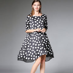 Plus Cute Polka Dot A Line Dresses Women Summer Loose Clothes 7312
