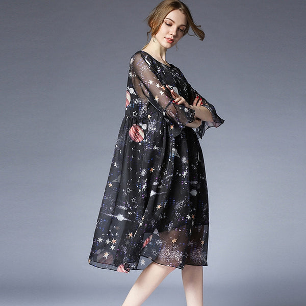 Plus Cute Floral Chiffon Dresses Women Loose Summer Clothes 6921