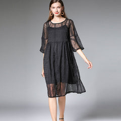 Plus Black And Khaki Embroidery Loose Dresses For Women 7326