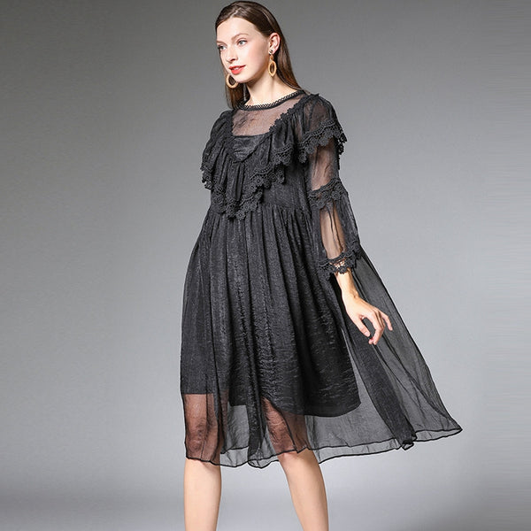 Plus Sweet Summer Loose Dresses Women Casual Clothes 1890