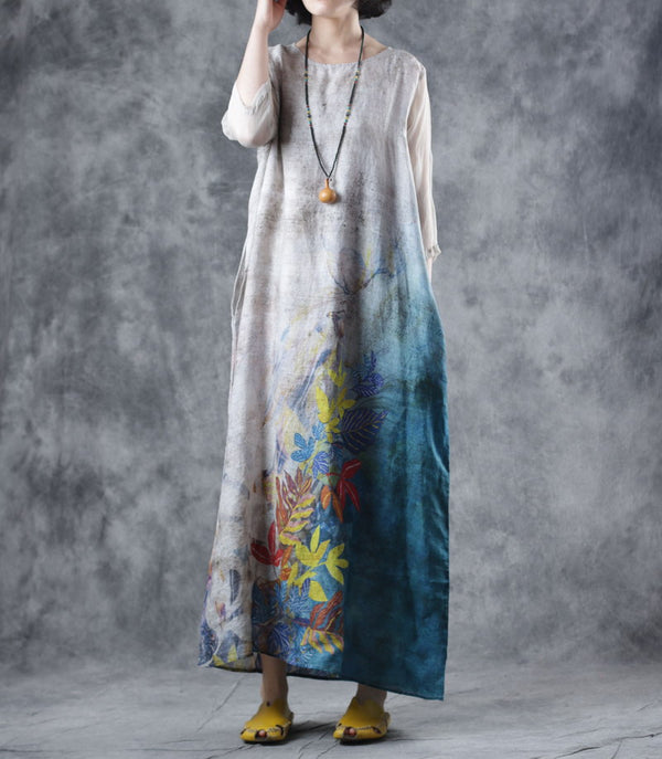 Women Vintage Belt Maxi Linen Dresses Summer Loose Clothes W1708