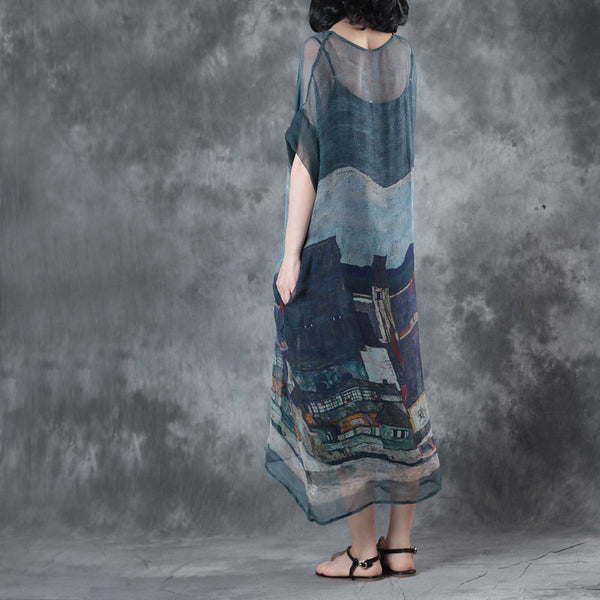Vintage Blue Loose Silk Dresses Women Casual Clothes For Summer W7052