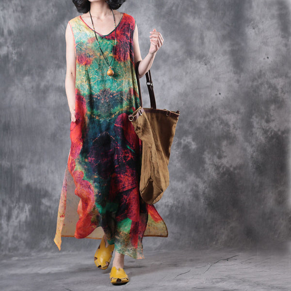 Women Loose Red Linen  Sleeveless Maxi Dresses For Summer WF553