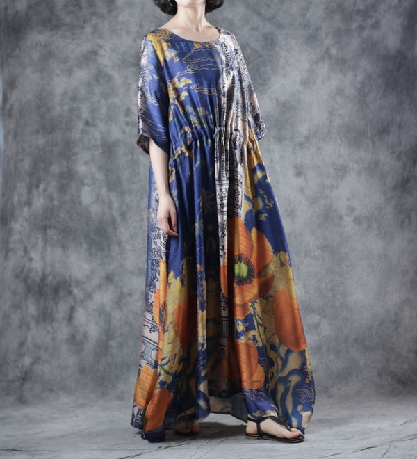 Casual Design Maxi Dresses Women Summer Loose Gown W7209