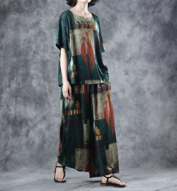 Vintage Green Two Piece Loose Blouse With Wide-leg Pants For Women W6209