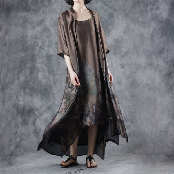 Vintage Coffee Women Two Piece Maxi Dresses With Loose Coat W7309