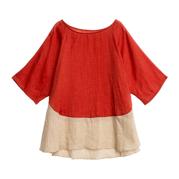Women Summer Loose Red Shirt Casual 100% Linen Tops T9304