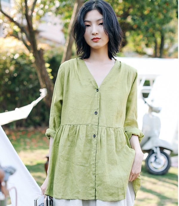 Women Summer Linen Green Blouse Casual Short Tops T9311