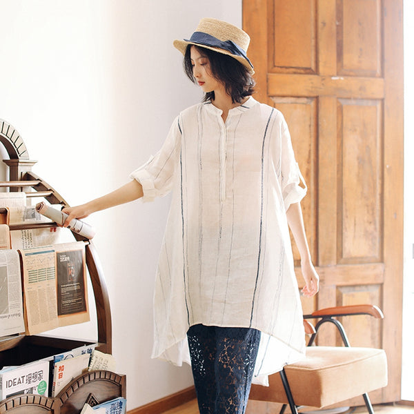 Women Loose Long White Shirt Summer Casual Linen Blouse S22040