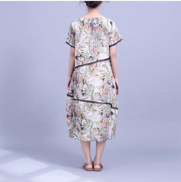 Women Loose Green Linen Dresses Casual Clothes For Summer Q22041