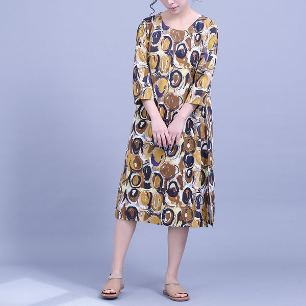 Yellow Print Cotton Loose Dresses Women Summer Casual Clothes Q22042