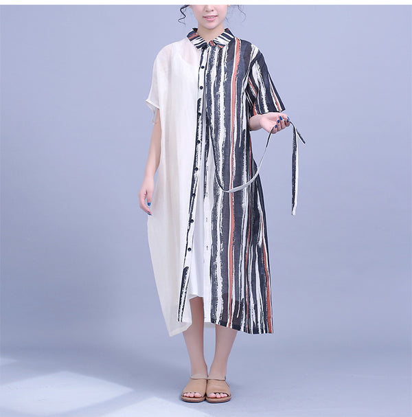 Loose Quilted Striped Summer Dresses Women Casual Clothes Q22045