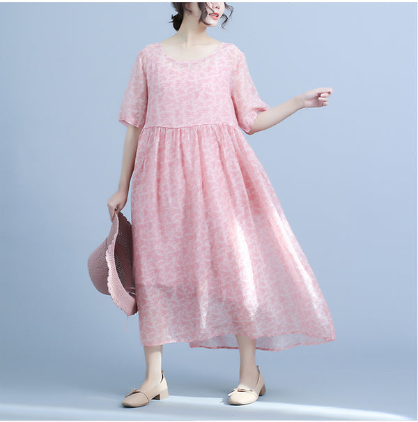 Summer Cute Floral Silk Dresses Women Casual Clothes Q23045