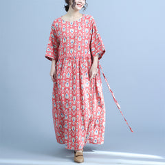Loose Summer Linen Red Dresses Casual Clothes For Women Q23046
