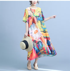 Vintage Print Casual Dresses Women Summer Loose Clothes Q23047