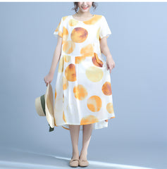 Summer Cute Linen Yellow Dresses Women Loose Clothes Q23048