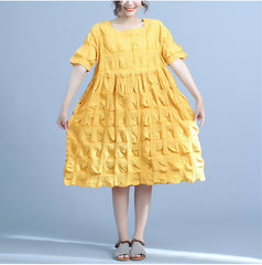 Cute Pure Color Cotton Dresses Summer Loose Clothes For Women Q23049