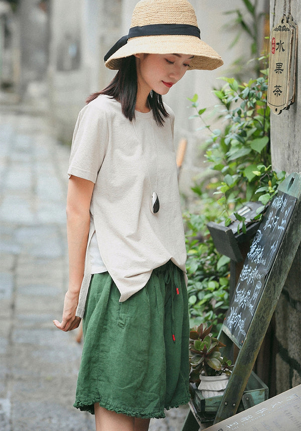Loose Green And Yellow Linen Shorts Women Summer Trousers K8743