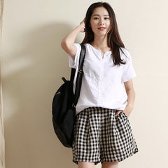 Simple Black Plaid Linen Shorts Summer Loose Hot Pants For Women 0018